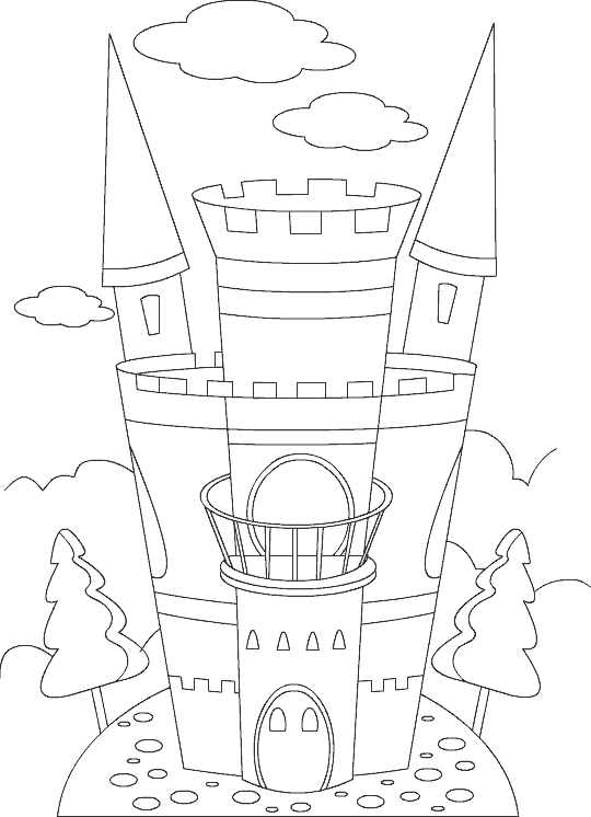 castle picture to color Princess Ballerina for