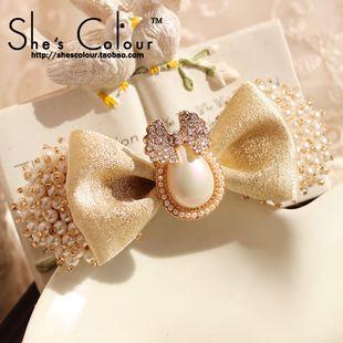 SHES COLOUR 正品原创蝴蝶结韩国珍珠钻饰发饰头饰品发卡发夹