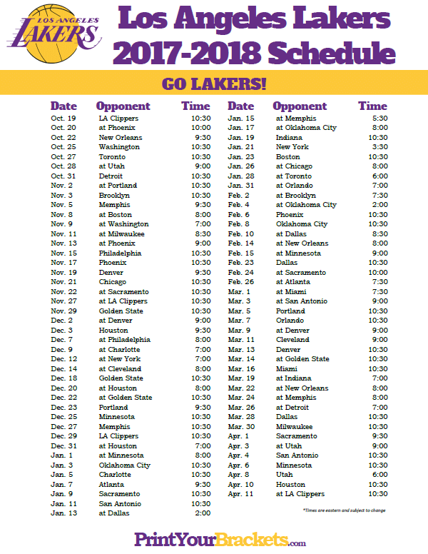 graphic about Lakers Printable Schedule named 2017-2018 Los Angeles Lakers Timetable Printable NBA