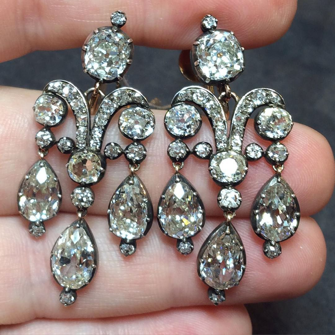 Diamond · Stunning 19th Century Girandole Diamond Earrings