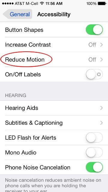iOS 7.1 Turn Parallax Off But Allow Other Motion
