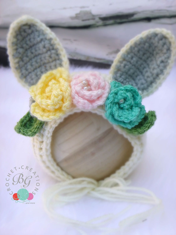 371a2d33eef Crochet Baby Flower Bonnet Crochet Baby Bunny Rabbit Flower Bonnet Hat  Beanie Newborn Photo Prop by BGCrochetCreations on Etsy