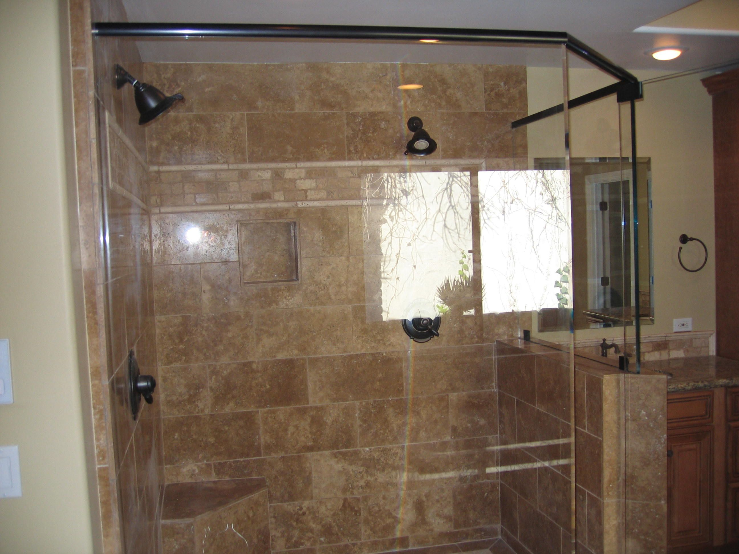 Large Seamless Glass Shower Doors With Vanity On The Right Side