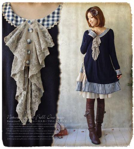 Retro-Vintage-Mori-Girl-Fall-Winter-Knitting-Loose-Dress-Long-Sleeve-Sweater