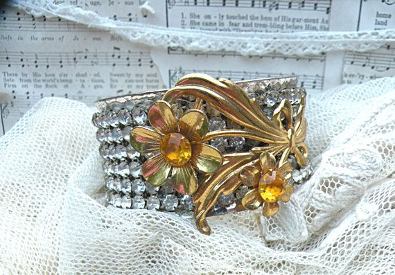 upcycle rhinestone cuff fall floral collage by lilyofthevally