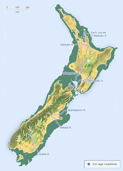 New Zealand S Coastline In The Ice Age Ice Age Historical Maps