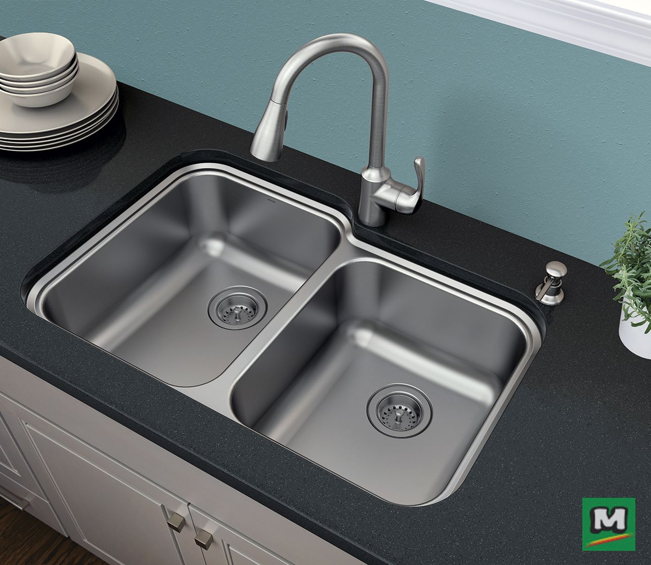 The Moen© Lodi™ kitchen sink kit includes a pull down faucet in a ...