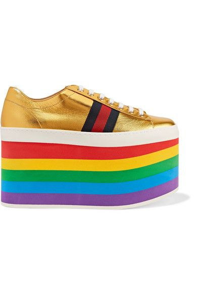 aaee136253a GUCCI Metallic leather platform sneakers.  gucci  shoes  flats ...
