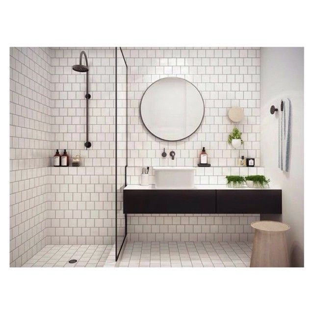 Decoration salle bains industriel miroir rond what a nice sdb salle de bain salle - Miroir rond salle de bain ...