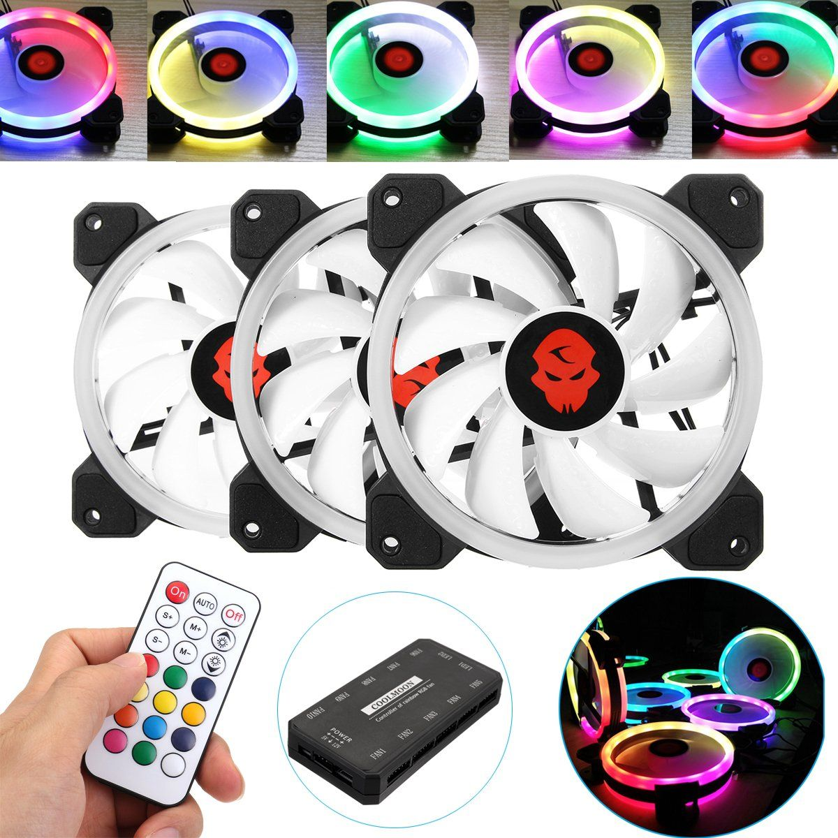 Coolmoon 3pcs 120mm Adjustable Rgb Led Light Computer Case Pc