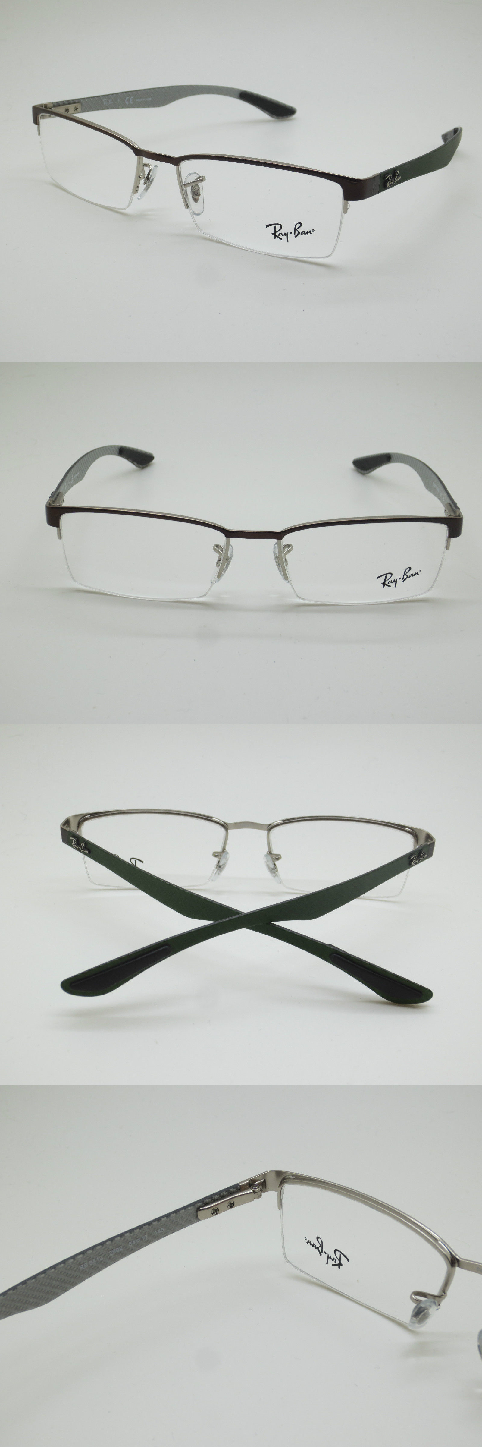 4e9f4a08e2 ... closeout eyeglass frames new authentic ray ban rb 8412 2892 brown green  carbon fiber 54mm rx