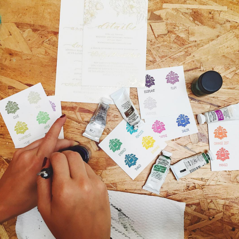 Ever wonder how to mix your own custom ink colors?! Maybe you were  commissioned for an envelope addressing job for a bride, a custom  calligraphy quote, or just curious about color matching for your own  enjoyment...Well, we go your back! Read through the steps to see our entire  process and yo