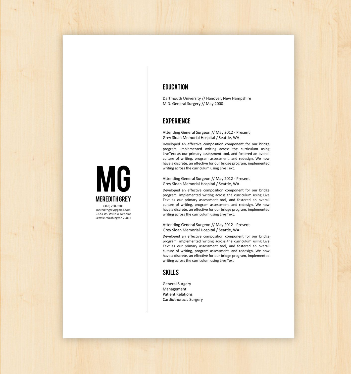 resume template cover letter template w reference page resume template cv template the meredith grey resume design instant word document docx doc format