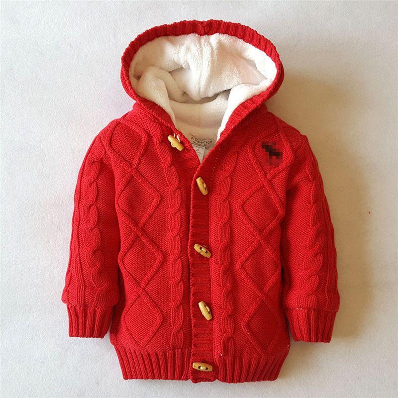 Baby Girls Boys Hooded Chunky Knit Cardigan Fleece Warm Striped Sweaters Outwear