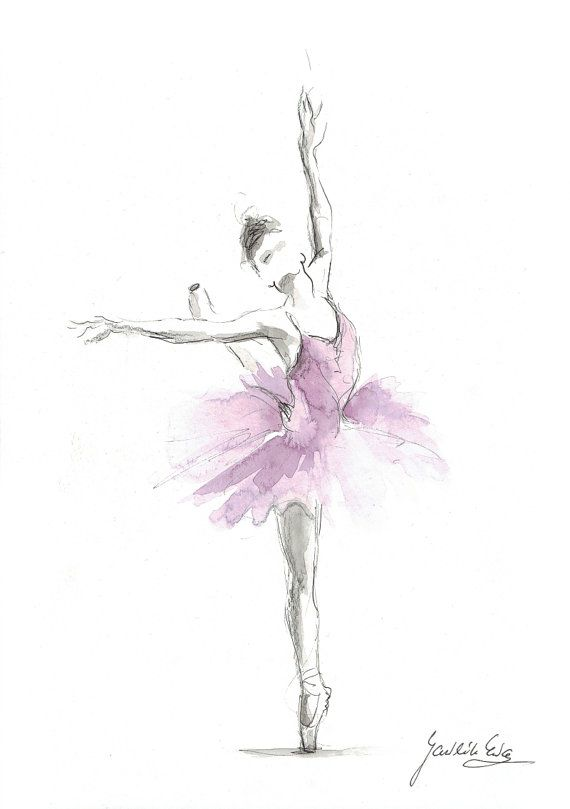 Original ballerina watercolor ballerina painting for Ballerina bilder kinderzimmer