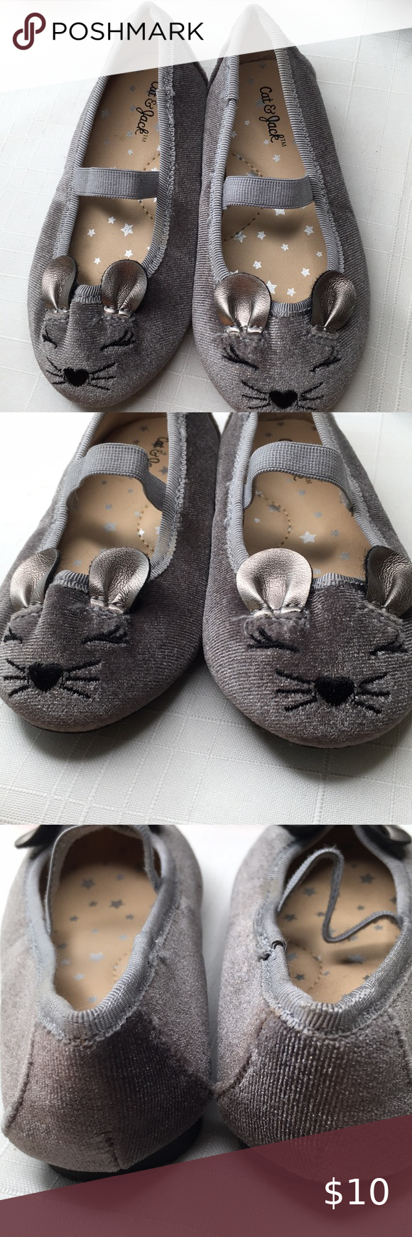 Cat and Jack Mouse shoes grey velvet in
