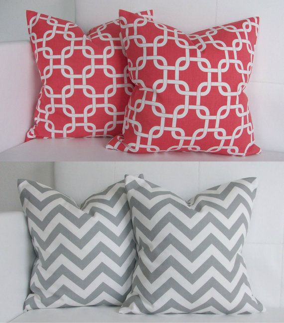 coral decorative pillows  Coral and Gray Decorative