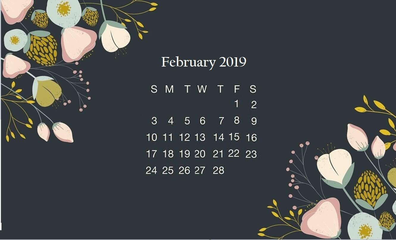Black Floral February 2019 Desktop Calendar Wallpaper Calendar Wallpaper Floral Wallpaper Desktop February Wallpaper