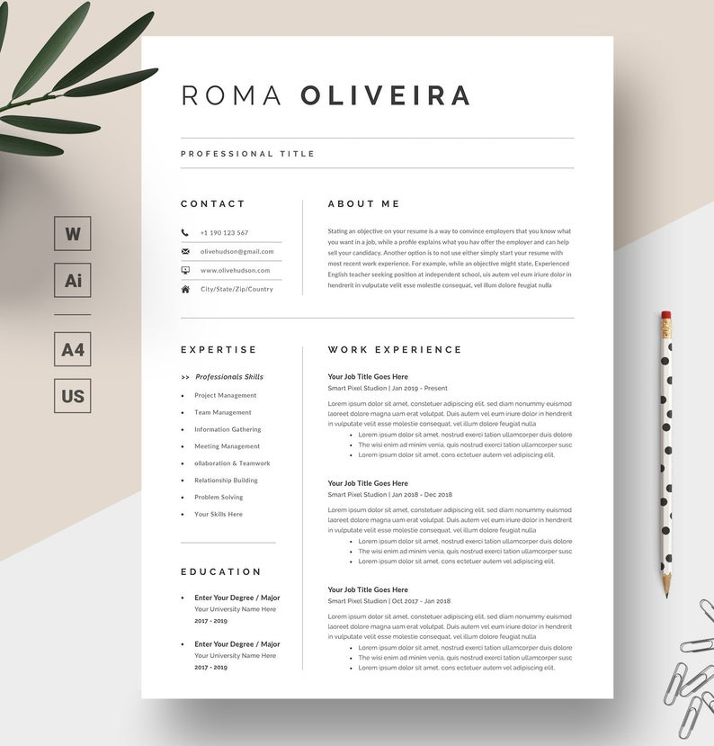 Professional Resume Template Resume Template Word Cv Template Cover Letter For Ms Word Modern Resume Instant Download Resume Design Resume Templates Modern Resume