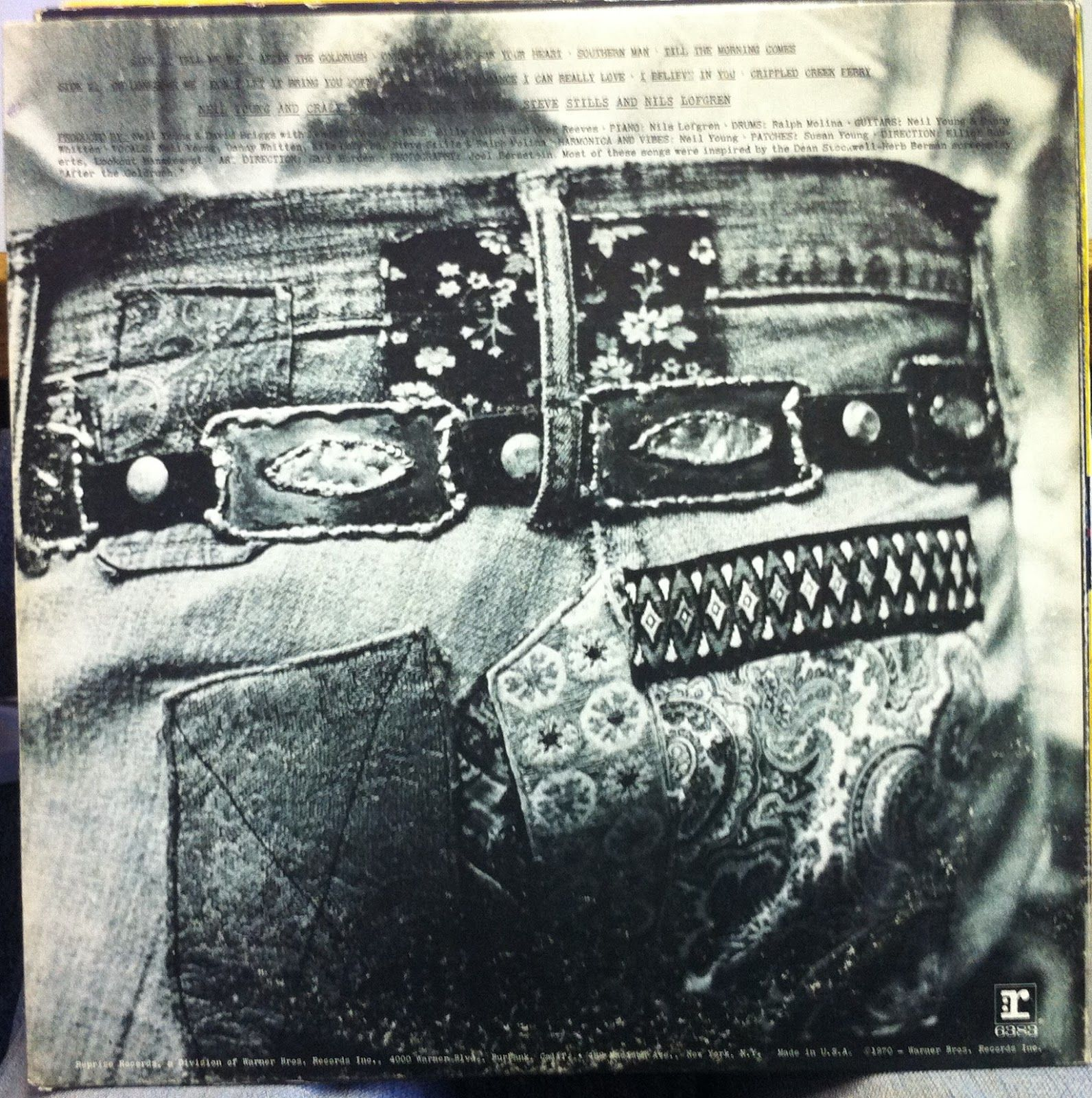 Neil Young After The Gold Rush Back Cover Rock And Roll Album