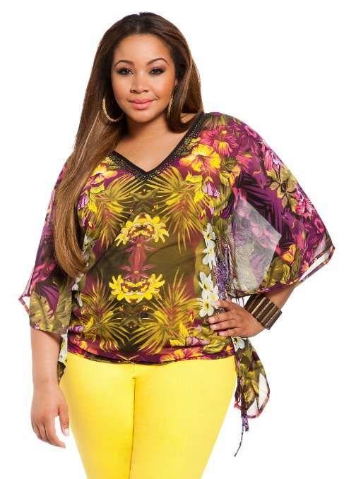 Blusas elegantes con estampados modernos para gorditas   http://modayaccesorios.info/blusas-elegantes-con-estampados-modernos-para-gorditas/