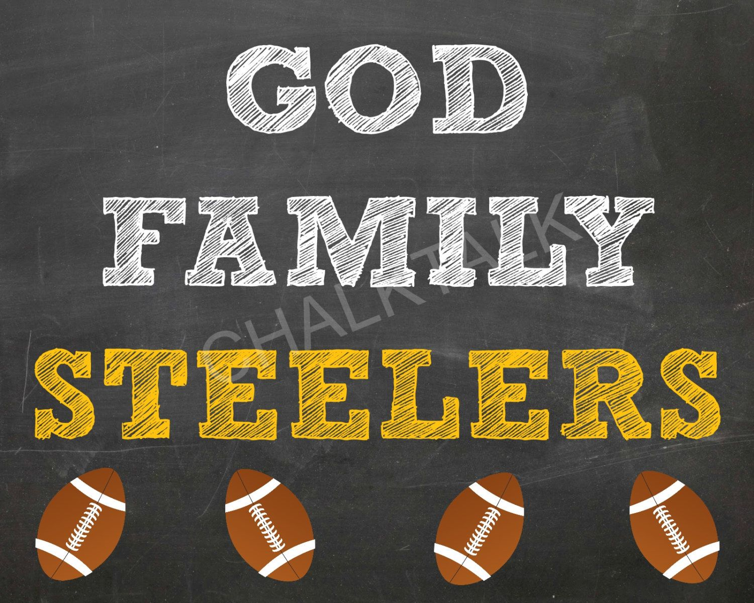 Family Football Chalkboard Steelers Browns Home Decor Printable By Chalktalkdesigns
