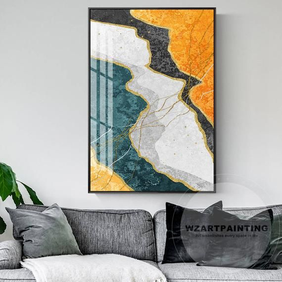 Modern Abstract Landscape Gold Dark Green Wall Art Prints Etsy Wall Art Pictures Green Wall Art Abstract Wall Painting