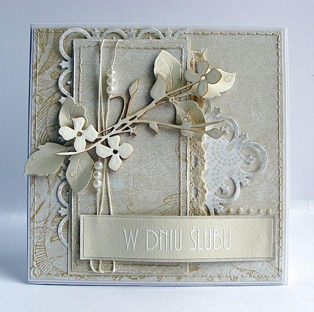 beautiful card in ecru...Memory Box die cut flowers and much more...
