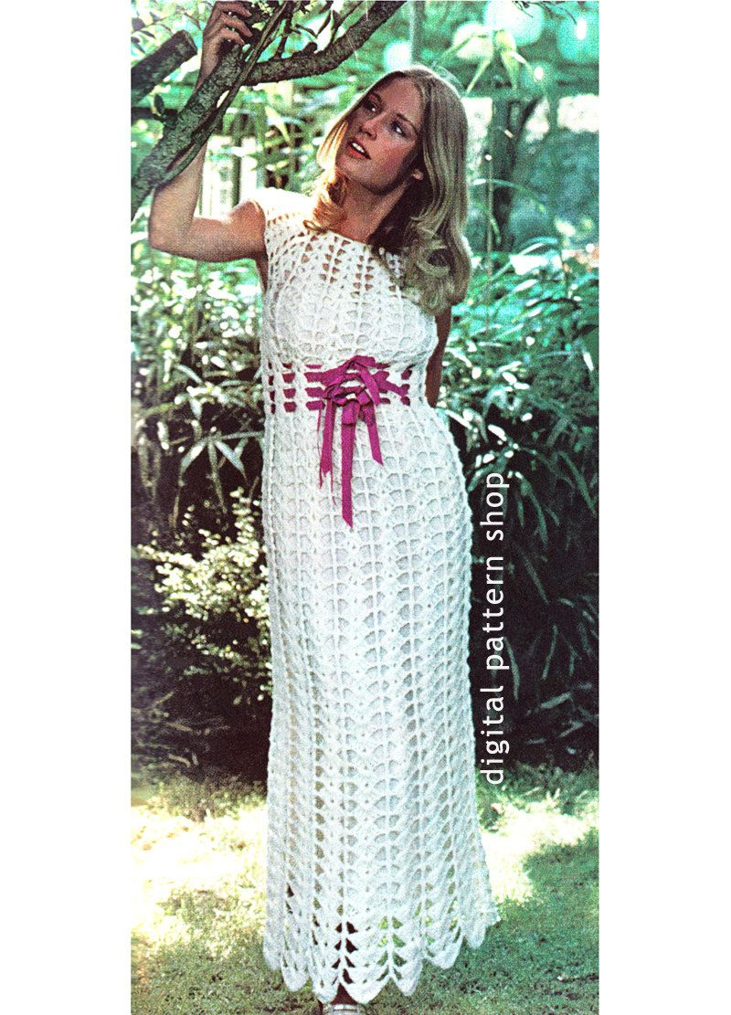 Crochet Dress Pattern Empire Maxi Dress Crochet Pattern Womens Laced ...