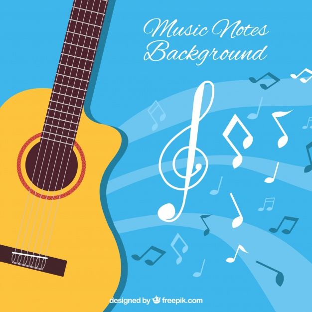 Blue Background With Acoustic Guitar And Musical Notes Free Vector Music Notes Background Acoustic Guitar Musicals
