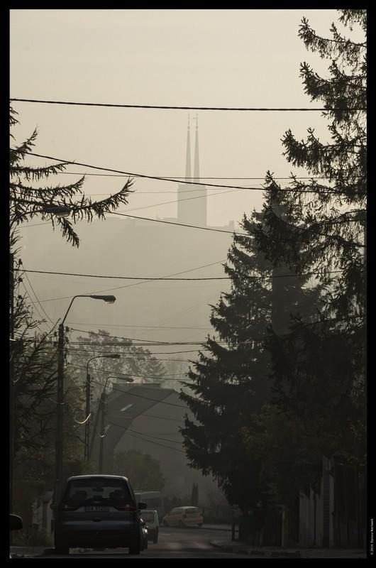 Gdynia. The tower of Franciscan Church of St. Anthony in a far distance (St. Maximilian Hill District)