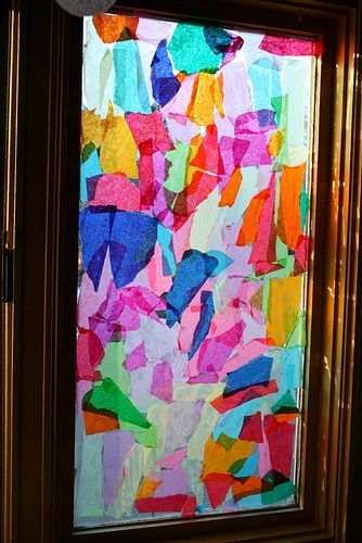 Stained Glass Windows Using Tissue Paper And Glue Or