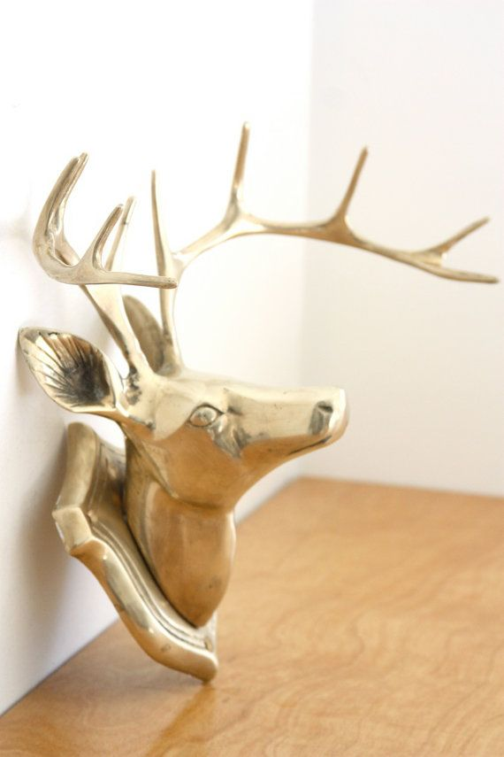 Montage Mural Bronze Stag head bois Home Wall Art Style Antique Décoration
