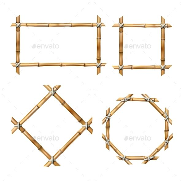 Set Of Vector Bamboo Frames Bamboo Frame Vector Illustration Vector