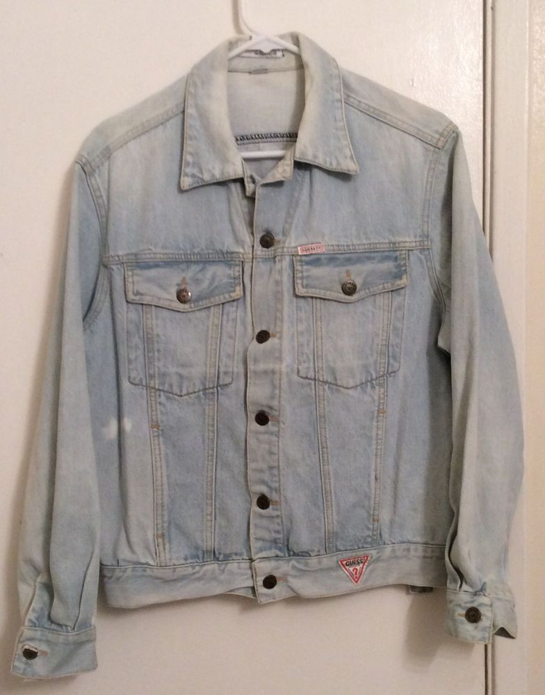 Sold Distressed Acid Washed Guess Jean Jacket Vintage Faded Sz Sm