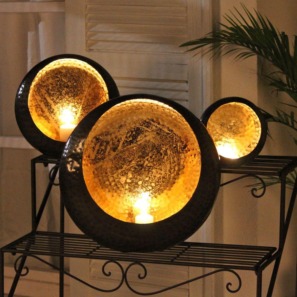 windlicht dekoschale bronze gold teelichthalter kerzen. Black Bedroom Furniture Sets. Home Design Ideas