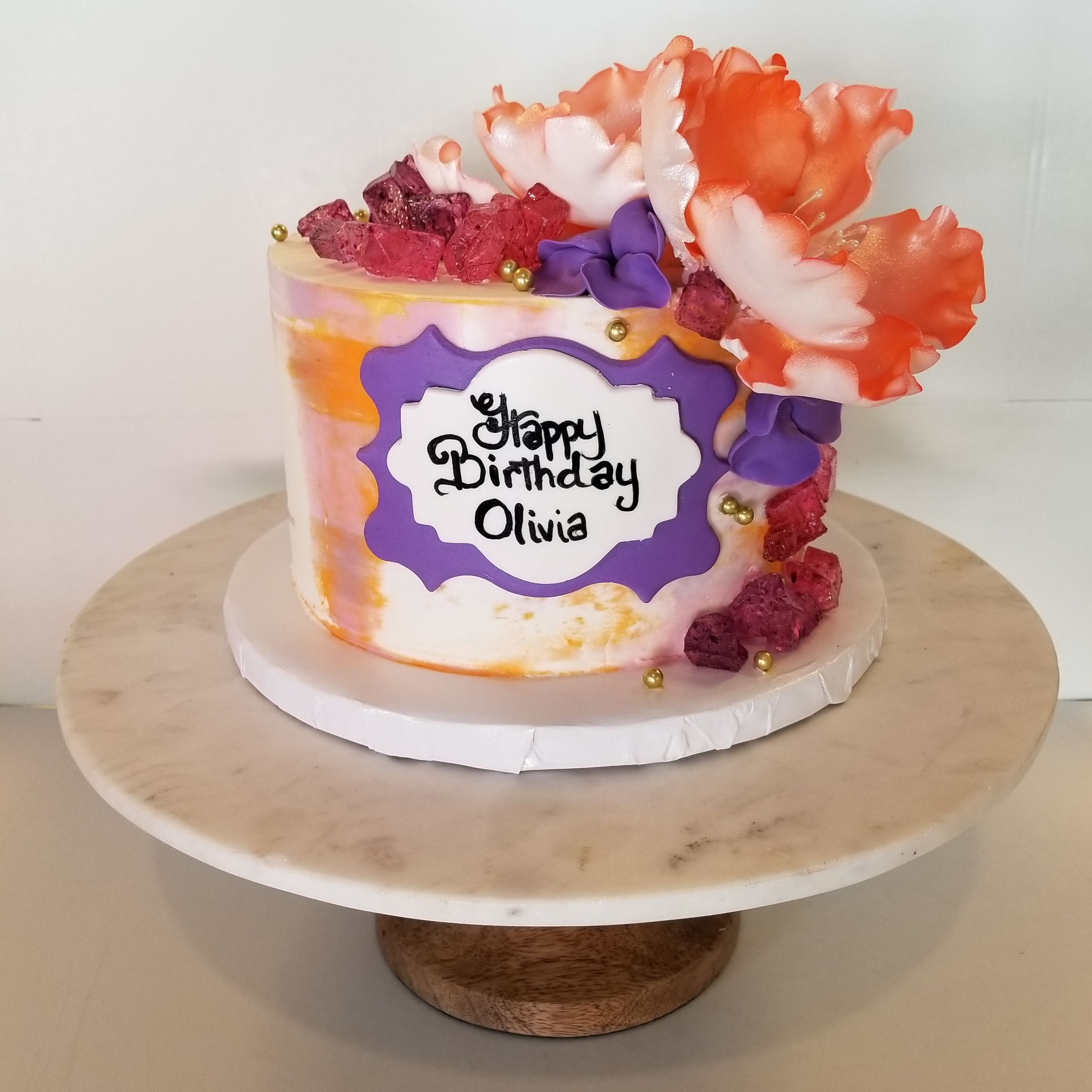Spring Flower Watercolor Birthday Cake Bakery Cafe Cake Moist