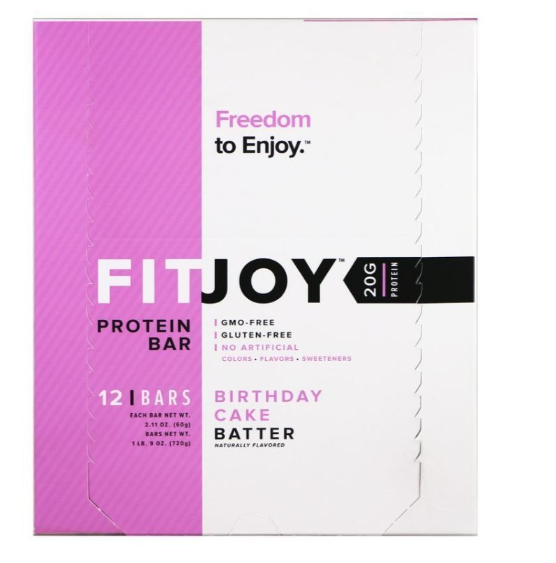 Protein Bar Birthday Cake Batter Flavor 12 Bars 211 Oz 60 G Box Free Shipping FITJOY