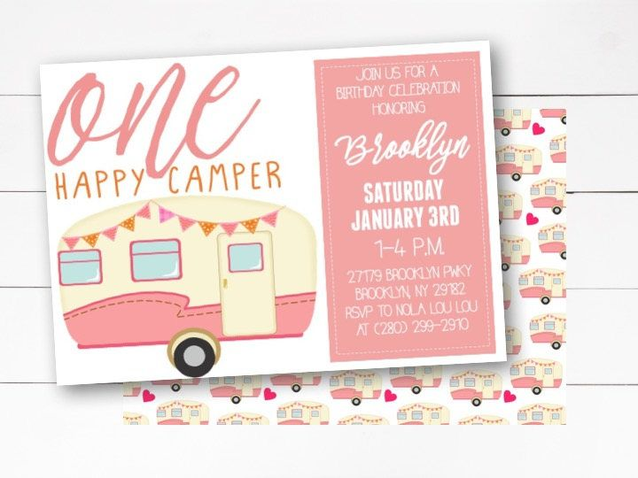One Happy Camper Invitation, 1st Birthday Invitation, Camping - invitation for 1st birthday party girl
