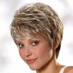 Spiffy Short Haircut Capless Sparkle Mixed Color Fluffy Natural Wavy Synthetic Wig For Women