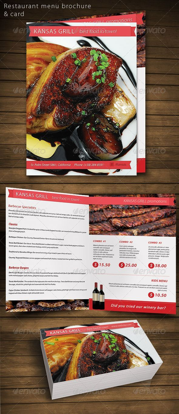 Restaurant Food Menu Brochure Card  Food Menu Restaurant Food