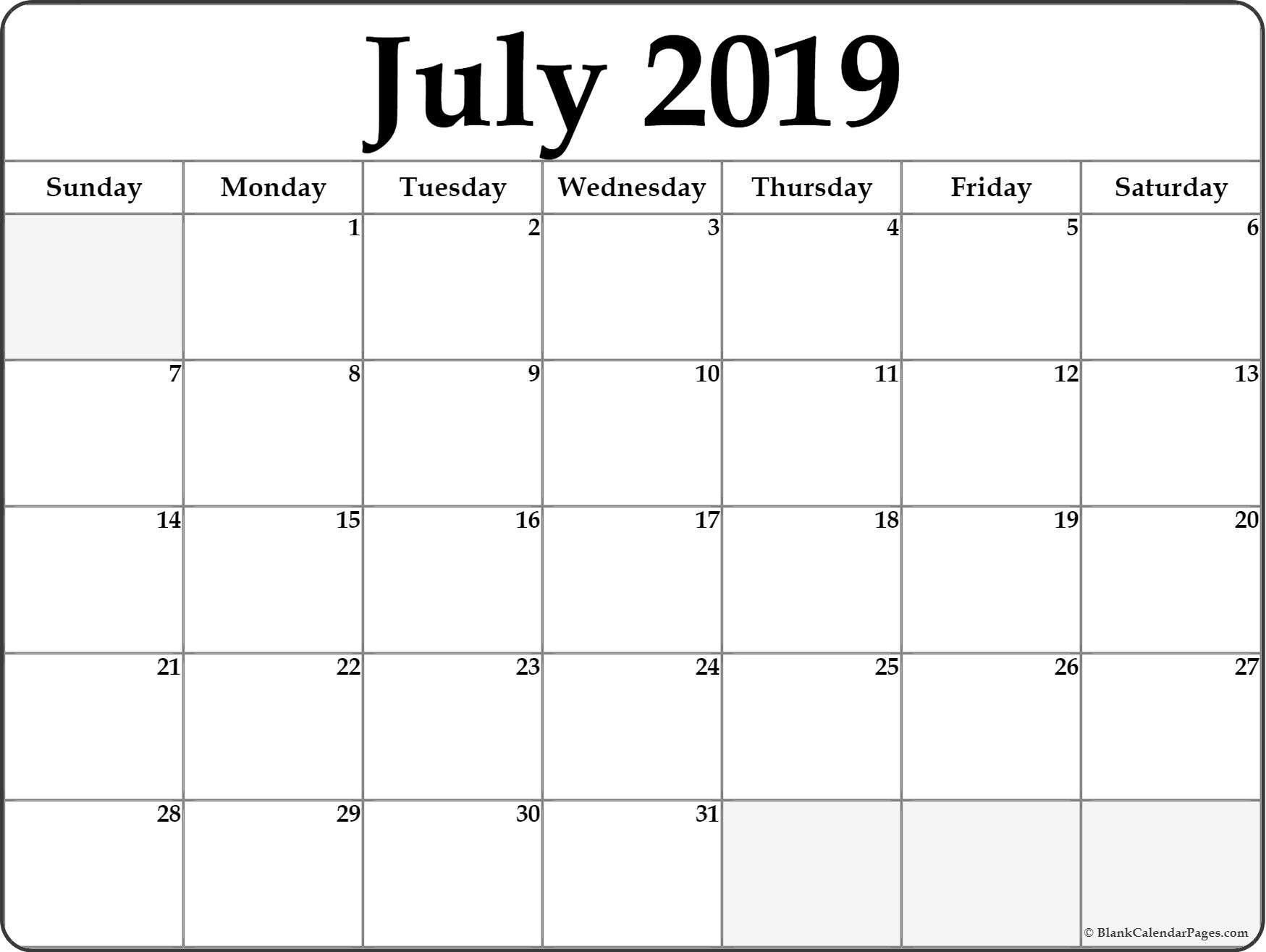 Print Monthly Blank Calendar July Printable Template