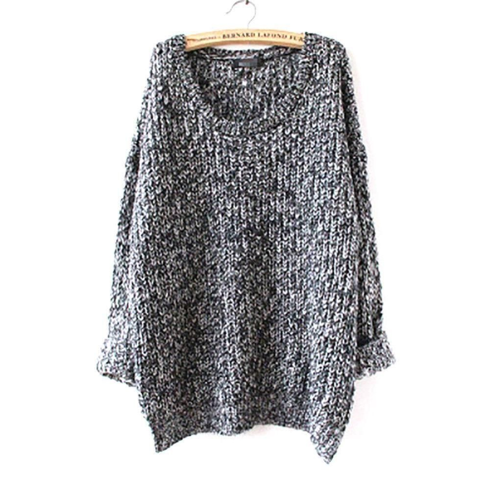 Fashion women long sleeve loose cardigan knitted sweater jumper