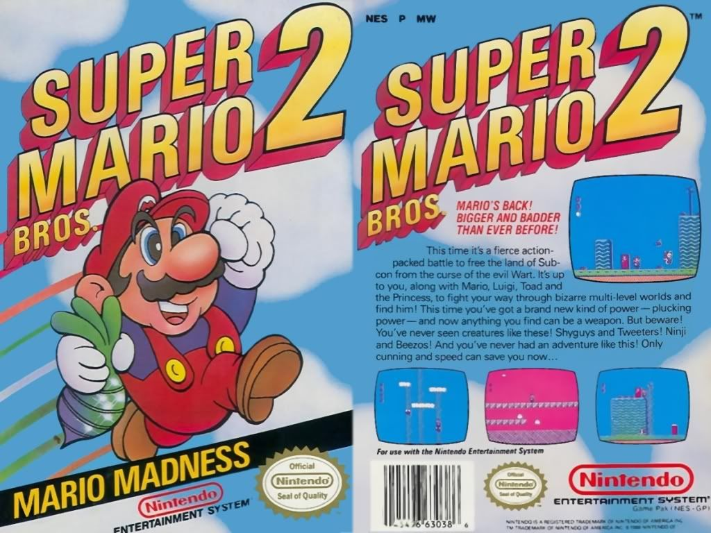Front And Back Box Art From Super Mario Bros 2 The 1988 Sequel To The 1985 Smash Hit For The Nes Mario Bros Super Mario Bros Super Mario