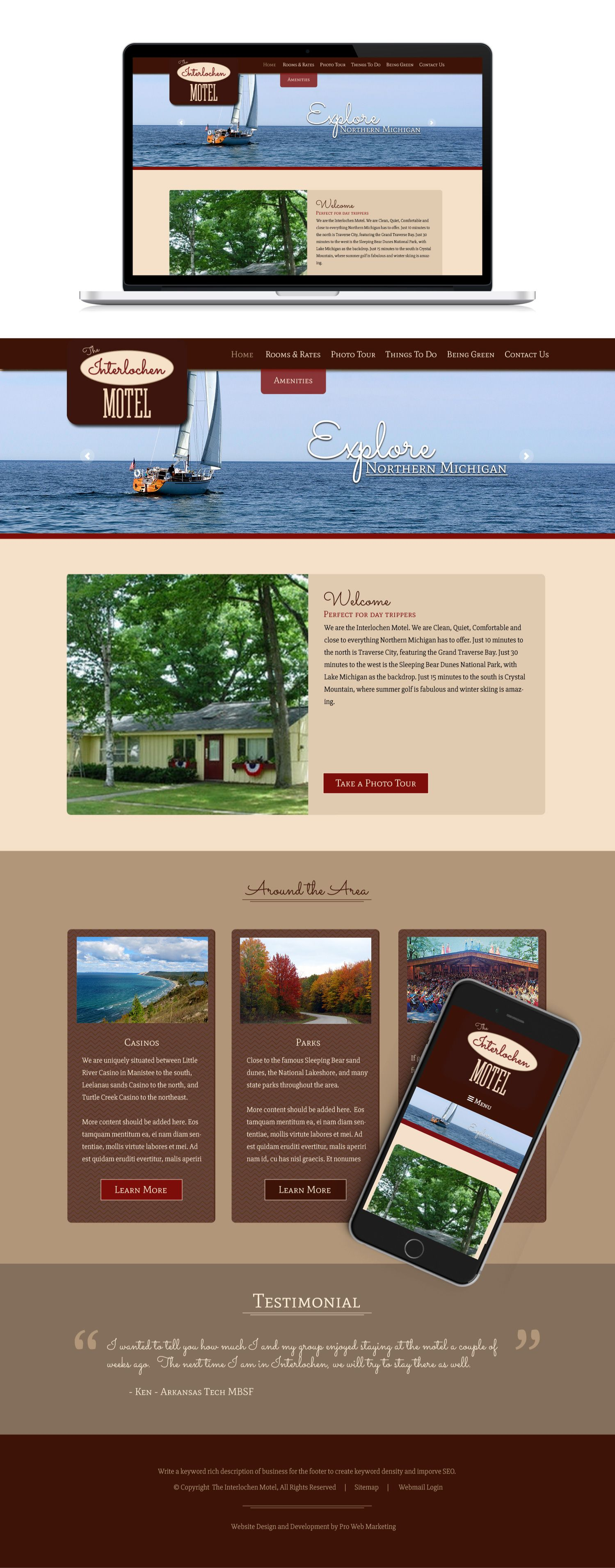 This Design Was Created For Interlochen Motel By Pro Web Marketing Web Marketing Website Design Custom Website Design
