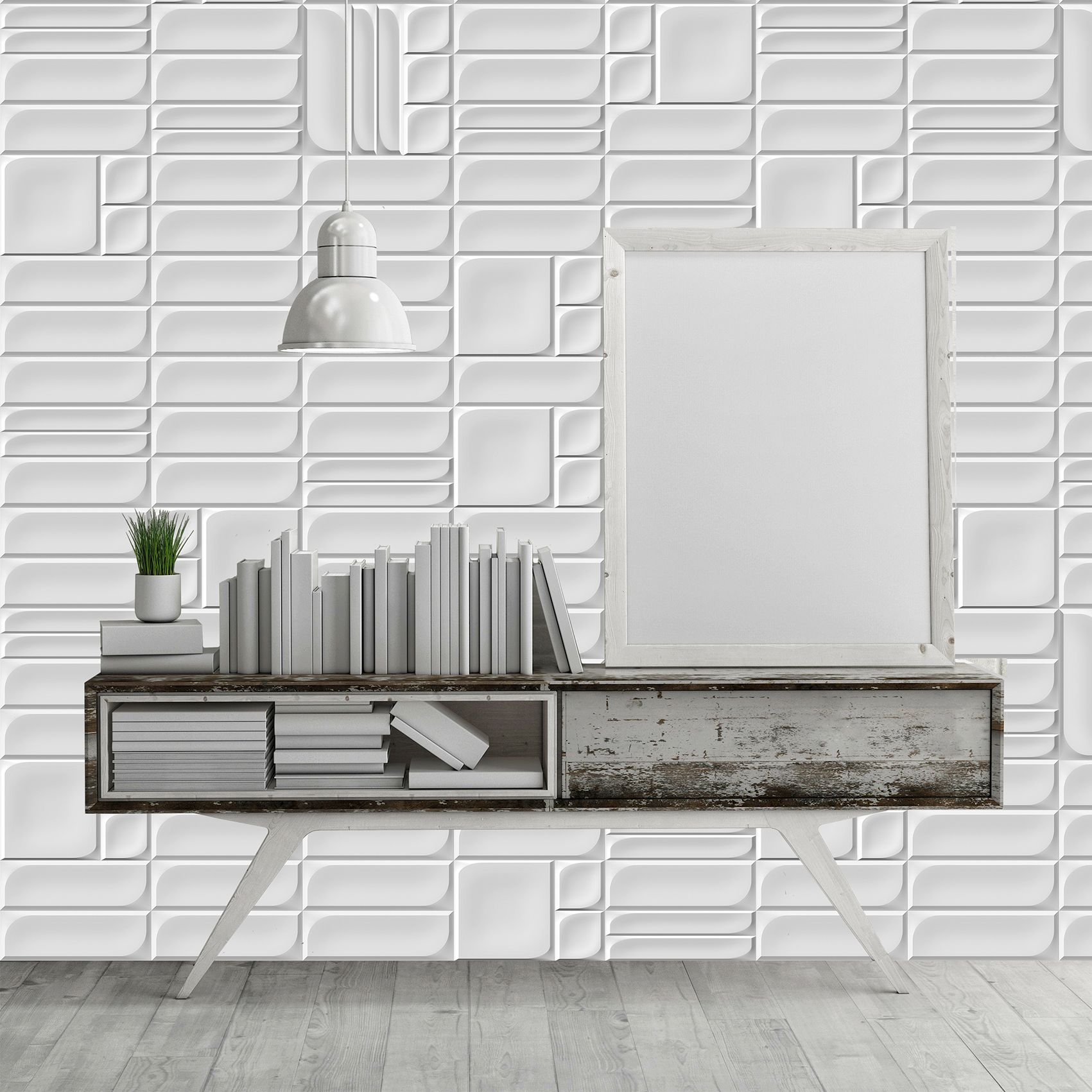 Ambient Ceramic Relief Modular In Colours White Ambiente Con Relieve Ceramico Modular En Colore Blanco