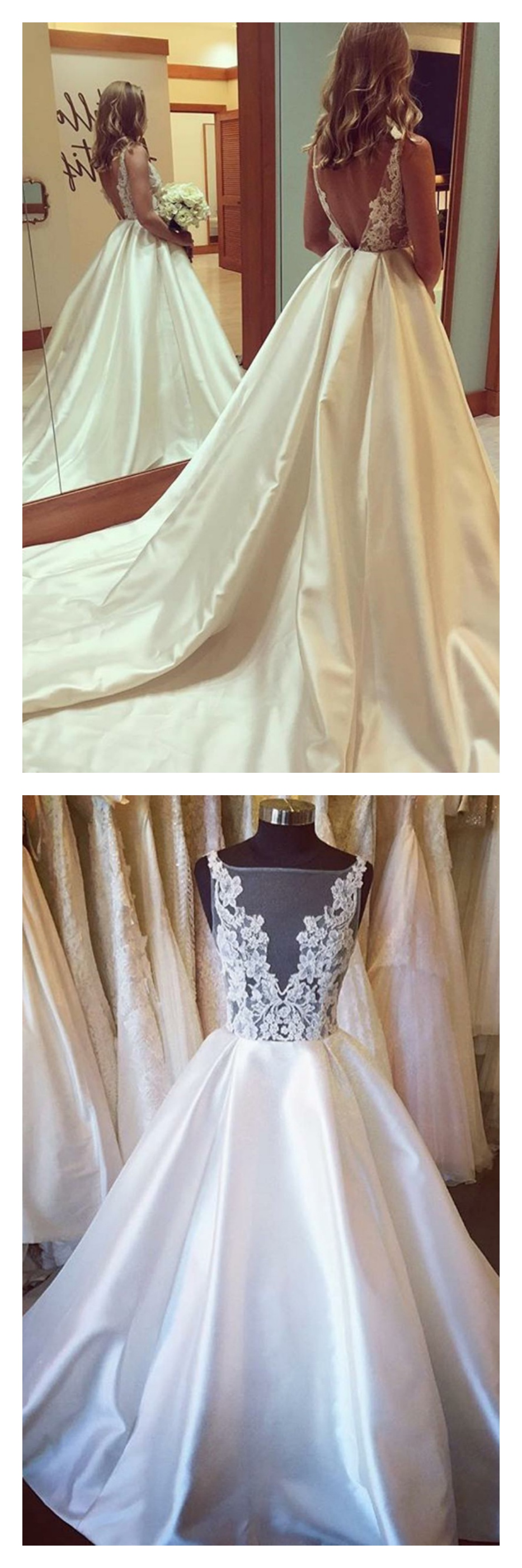 Satin backless wedding dress  Large Vneck Sheath Sweep Train Wedding Dress with Beaded WD