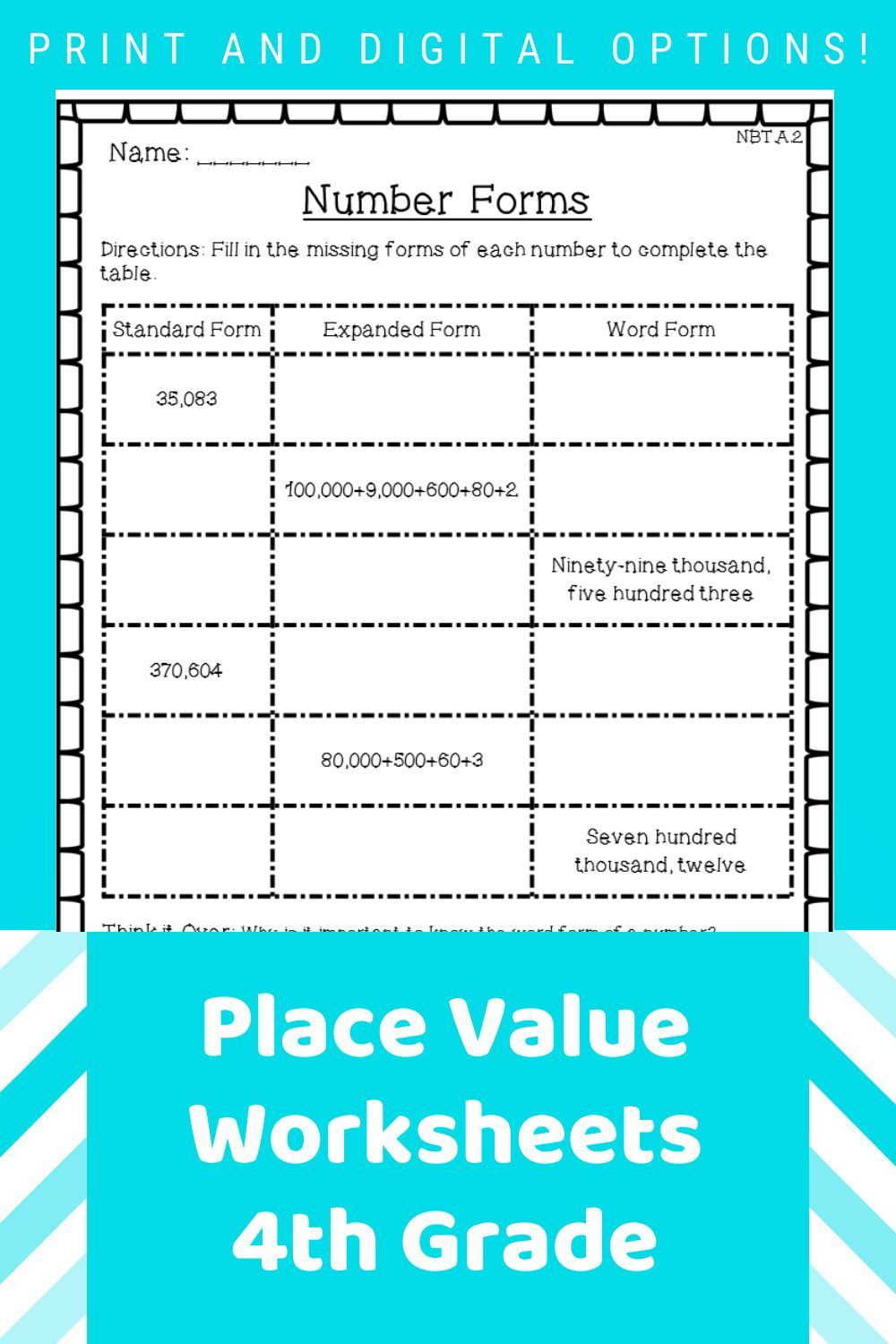 Place Value Worksheets 4th Grade Place Value Worksheets Place Values Fourth Grade Math