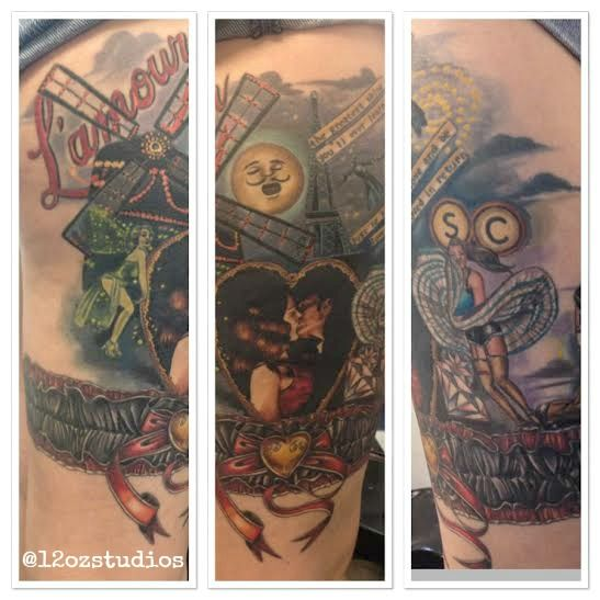 Picture of a healed Moulin Rouge themed female thigh tattoo by Meghan Patrick.