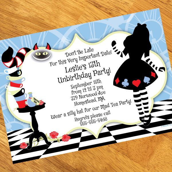 alice in wonderland party invitations to make mesmerizing party, Party invitations